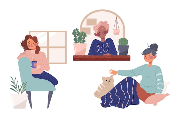 Pacchetto di scene di stile di vita hygge disegnato a mano