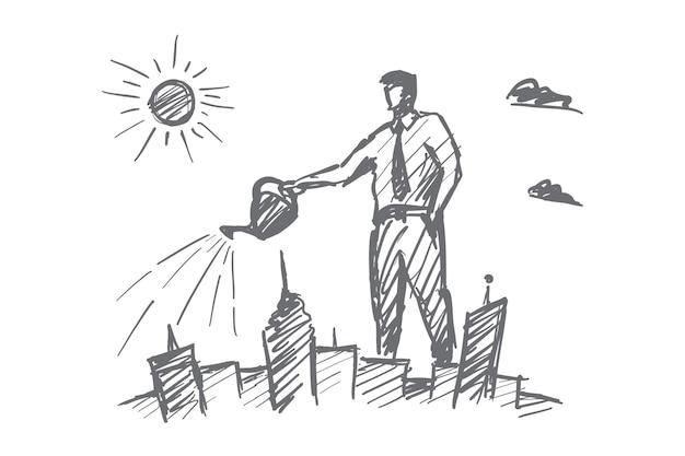 Disegnato a mano amo il mio schizzo di concetto di città con uomo d'affari
