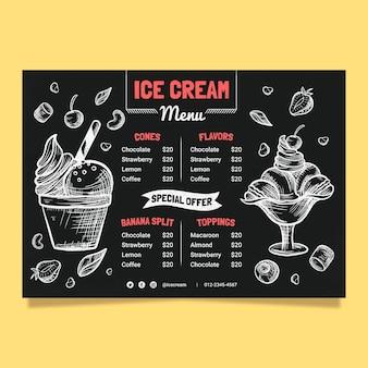 Modello di menu lavagna gelato disegnato a mano