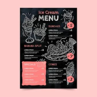 Menu di lavagna gelato disegnato a mano