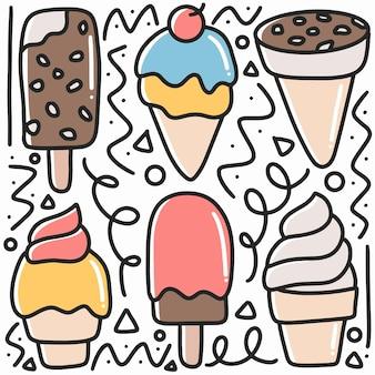 Doodle gelato disegnato a mano impostato con icone ed elementi di design