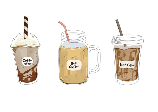 Illustrazione disegnata a mano della raccolta del caffè ghiacciato