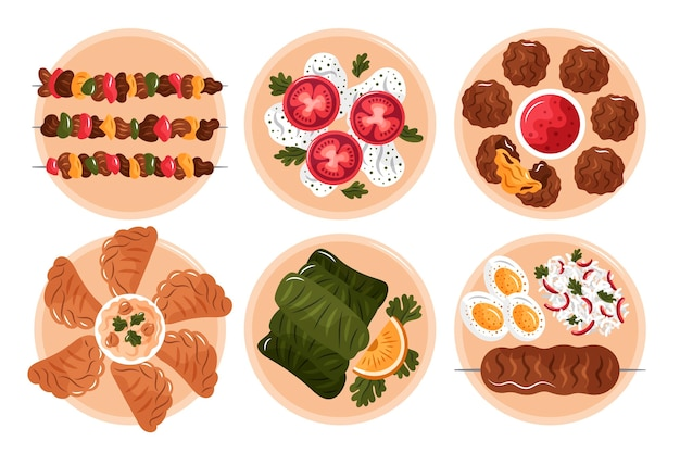 Raccolta di elementi pasto iftar disegnata a mano