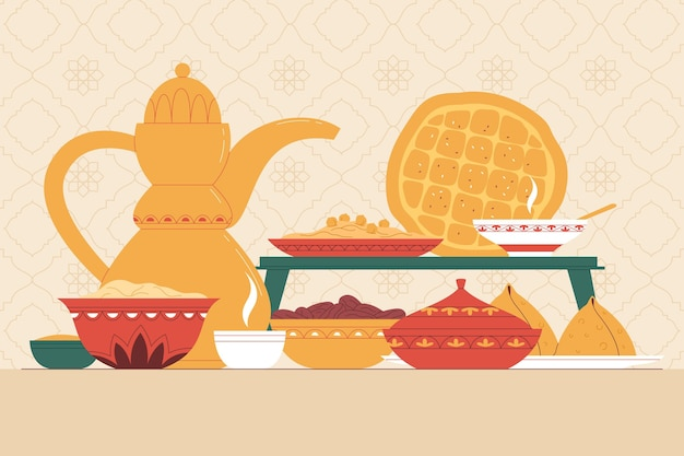 Illustrazione di pasto iftar disegnato a mano