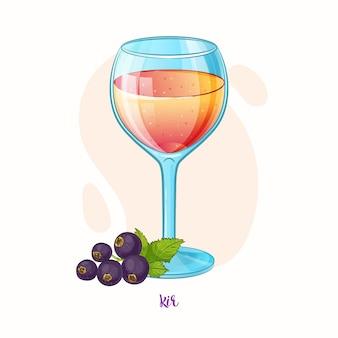 Illustrazione disegnata a mano di bevanda alcolica kir cocktail