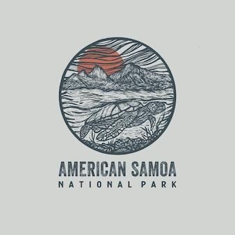 Illustrazione disegnata a mano del parco nazionale delle samoa americane