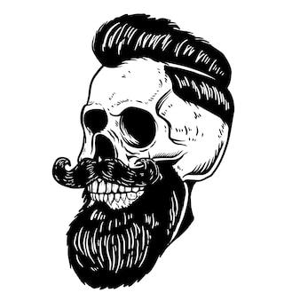 Illustrazione disegnata a mano del teschio barbuto su priorità bassa bianca. elemento per poster, carta, emblema, segno, etichetta del negozio di barbiere. illustrazione