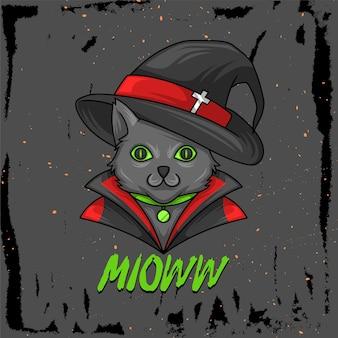 Illustrazione disegnata a mano di un gatto in un costume da strega per ciaoween