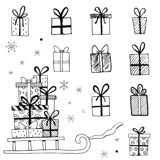 Illustrazione disegnata a mano di scatole regalo di natale, regali. doodle design in stile schizzo per le tue carte, adesivi, icone. illustrazione vettoriale disegnata da inchiostro pennello-penna.