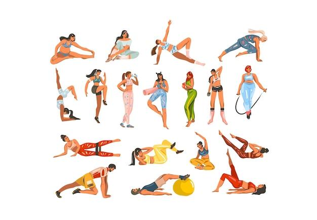 Raccolta di clipart illustrazione disegnata a mano con persone che si allenano in abbigliamento sportivo Vettore Premium