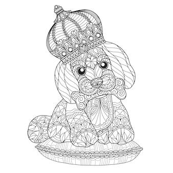 Illustrazione disegnata a mano di cucciolo carino in stile zentangle