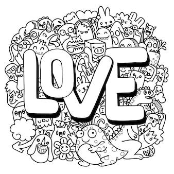 Illustrazione disegnata a mano di doodle kawaii, mostri di doodle, concetto di amore, illustrazione per libro da colorare, ciascuno su un livello separato.
