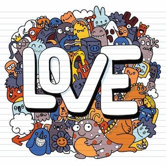 Illustrazione disegnata a mano di doodle kawaii, mostri di doodle, concetto di amore