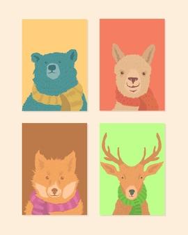 Insieme animale della cartolina d'auguri dell'illustrazione disegnata a mano con la sciarpa sul tema di inverno