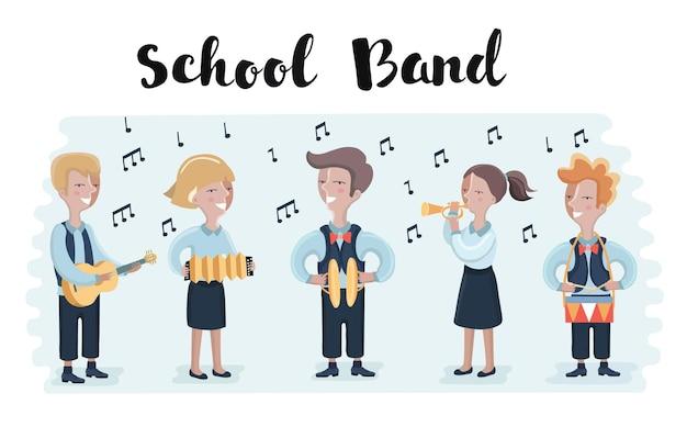 Gruppo di illustrazione disegnata a mano di bambini che cantano all'unisono una canzone
