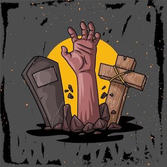 Illustrazione disegnata a mano di un personaggio a mano che esce dalla tomba per helloween a
