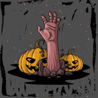 Illustrazione disegnata a mano di un personaggio a mano che esce da una tomba con una zucca per ciaoween