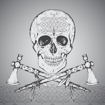 Illustrazione disegnata a mano del cranio umano, due tomahawk e ornamento etnico.