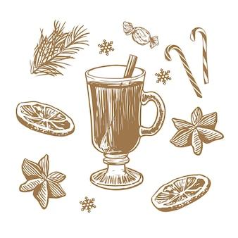 Illustrazione disegnata a mano di vin brulè con spezie