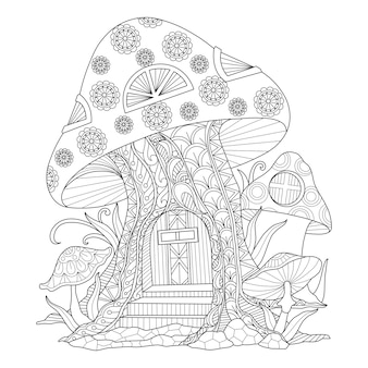 Illustrazione disegnata a mano della casa del fungo in stile zentangle