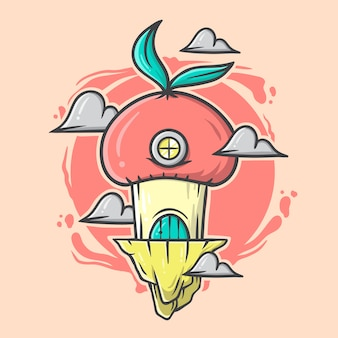 Illustrazione disegnata a mano della casa dei funghi