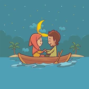 Illustrazione disegnata a mano di una coppia musulmana che si incontra in mare in barca