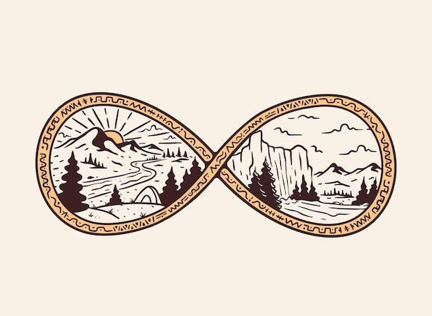Illustrazione disegnata a mano di uno scenario naturale nel badge infinito