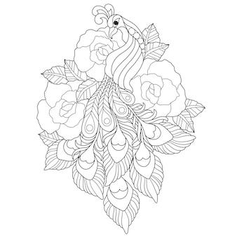 Illustrazione disegnata a mano di pavone in stile zentangle
