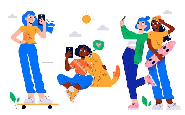 Illustrazione disegnata a mano di persone che scattano foto con lo smartphone