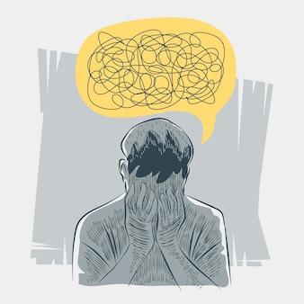 Illustrazione disegnata a mano di una persona con problemi di salute mentale