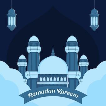 Illustrazione disegnata a mano del biglietto di auguri di ramadan kareem.