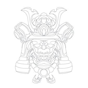 Illustrazione disegnata a mano di samurai ronin