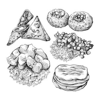 Insieme disegnato a mano dell'illustrazione della cucina indiana.