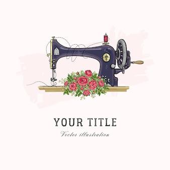 Illustrazione disegnata a mano di macchina da cucire e fiori