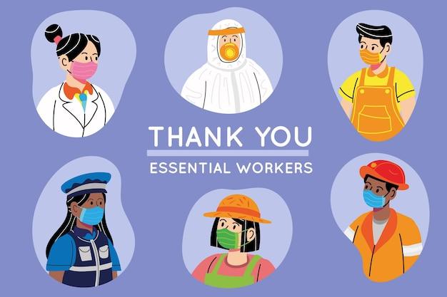 Illustrazione disegnata a mano grazie lavoratori essenziali