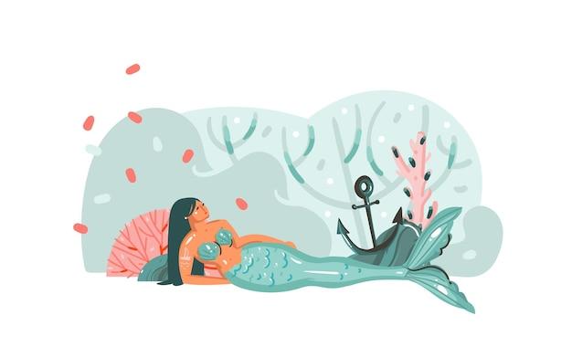 Illustrazione disegnata a mano con barriere coralline, ancoraggio, alghe e carattere ragazza sirena bohémien di bellezza
