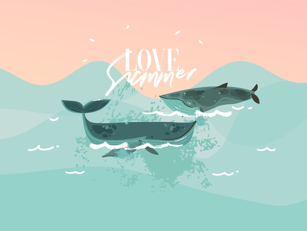 Illustrazione disegnata a mano con le balene di nuoto di bellezza felice e la scena dell'oceano al tramonto su sfondo di colore blu.