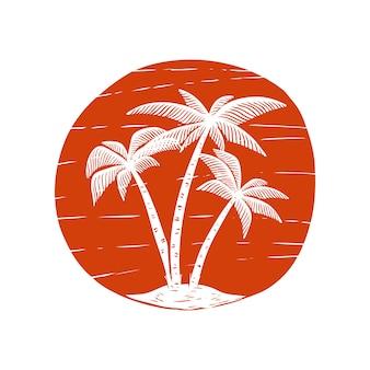 Illustrazione disegnata a mano con palme e sole. elemento per poster, carta, maglietta. immagine