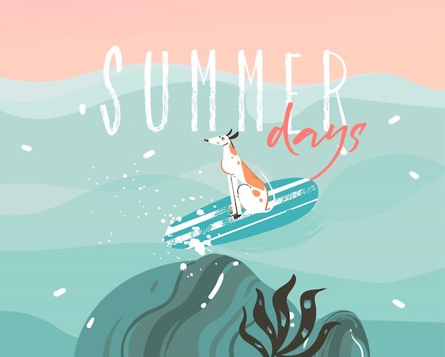 Illustrazione disegnata a mano con un cane da surf e tipografia testo di giorni estivi su sfondo di paesaggio di onde dell'oceano