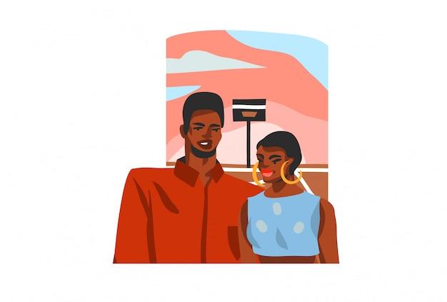 Illustrazione disegnata a mano con giovani coppie felici degli studenti di bellezza su fondo bianco