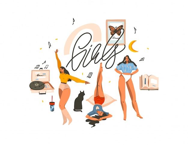 Illustrazione disegnata a mano con le giovani donne felici di bellezza che ballano e che si divertono insieme gruppo di amici e lettere scritte a mano delle ragazze su fondo bianco
