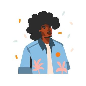 Illustrazione disegnata a mano con giovane uomo di bellezza afroamericano nero felice, in abito di moda isolato