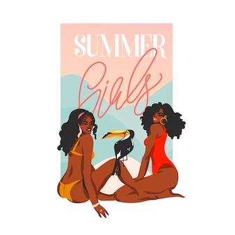 Illustrazione disegnata a mano con le giovani donne afro felici nere di bellezza in costume da bagno sulla scena di vista del tramonto che si siede sulla spiaggia su fondo bianco