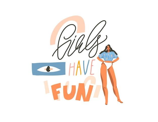 Illustrazione disegnata a mano con la giovane femmina positiva danzante felice con le ragazze vuole solo divertirsi, testo scritto a mano di calligrafia su sfondo bianco collage
