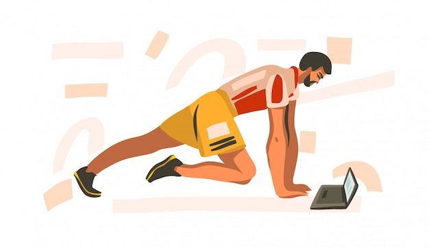 Illustrazione disegnata a mano con giovane addestramento maschio felice a casa con il computer portatile che guarda addestramento online di forma fisica su fondo bianco