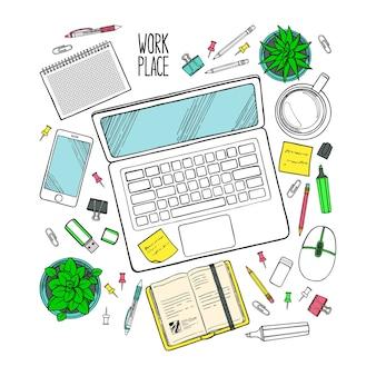 Illustrazione disegnata a mano della vista dall'alto sul posto di lavoro con elementi di lavoro