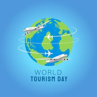 Illustrazione disegnata a mano del concetto di giornata mondiale del turismo.