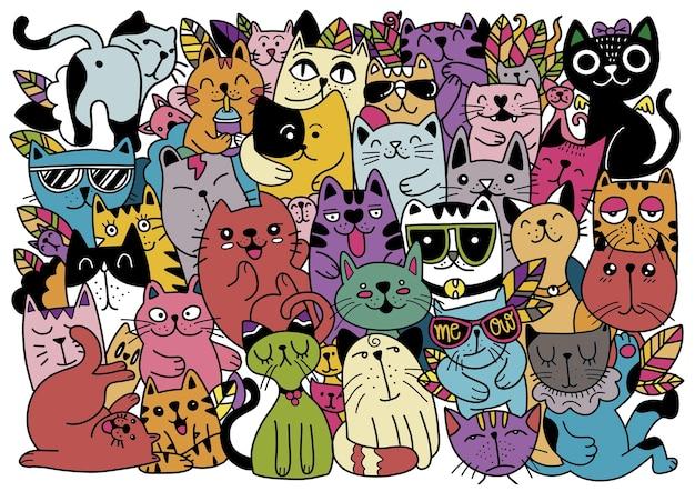 Illustrazioni disegnate a mano di personaggi di gatti. stile schizzo. doodle, diverse specie di gatti, illustrazione per bambini, ciascuno su un livello separato.