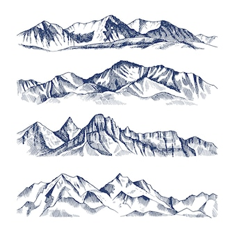 Illustrazioni disegnate a mano di diversi paesaggi di montagne. viaggio in montagna, picco di roccia e gamma degli altopiani
