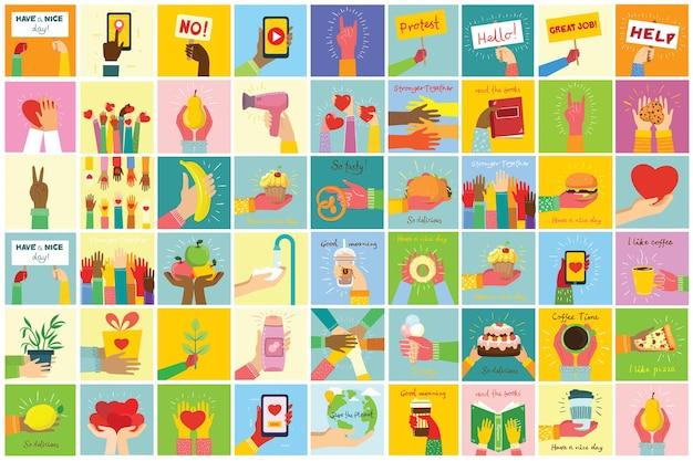 Le illustrazioni disegnate a mano delle mani tengono cose diverse in un design piatto